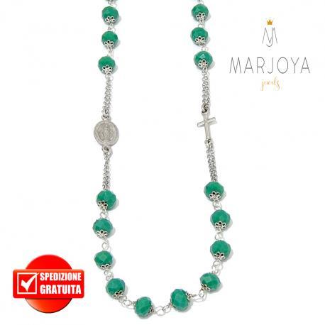 Rosario con swarovski verde bosco in argento 925,collana girocollo