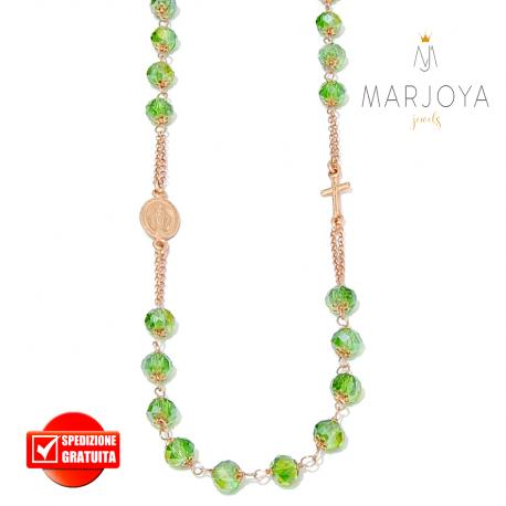 Rosario con swarovski verde boreale in argento 925 rosè collana girocollo
