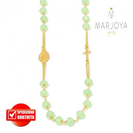 Rosario con swarovski verde pastello in argento 925 dorato collana girocollo