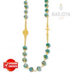 Rosario con swarovski verde scuro in argento 925 dorato collana girocollo