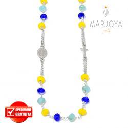 Rosario con swarovski giallo,blu e celeste,in argento 925,collana girocollo