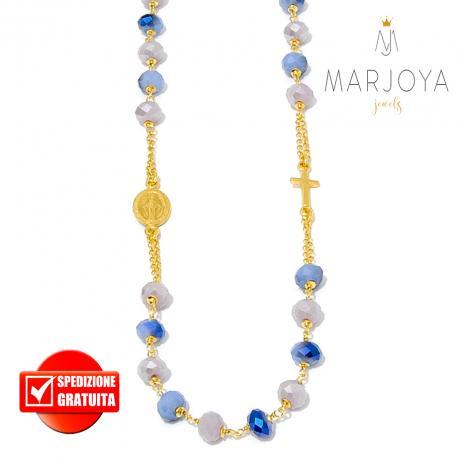 Rosario con swarovski glicine e lilla con riflessi blu in argento 925 dorato collana girocollo