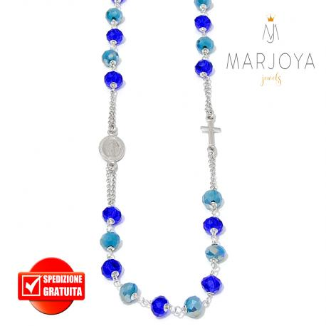Rosario con swarovski verde petrolio e blu,in argento 925,collana girocollo