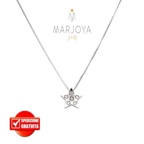 Punto luce stella in oro bianco 18 kt diamanti ct. 0,04
