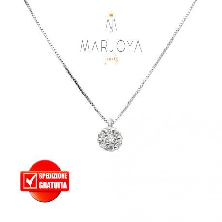 Collana punto luce margherita in oro bianco 18 kt diamanti ct. 0,15