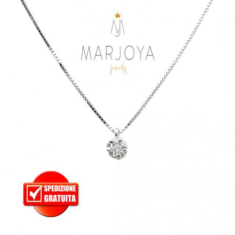 Collana punto luce margherita in oro bianco 18 kt diamanti ct. 0,08