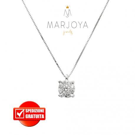 Collana punto luce fiore con griffe in oro bianco 18 kt diamanti ct. 0,17