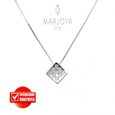 Punto luce rombo in oro bianco 18 kt diamanti ct. 0,06