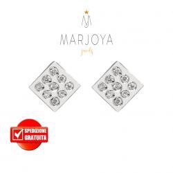 Orecchini rombo in oro bianco 18 kt con diamanti ct. 0,12
