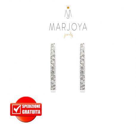 Orecchini cerchietto in oro bianco 18 kt con diamanti ct. 0,24