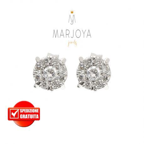 Orecchini tondi a lobo in oro bianco 18 kt con diamanti ct. 0,48