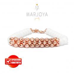 Bracciale in quarzo bianco e spirale di ematite in argento 925 rosè