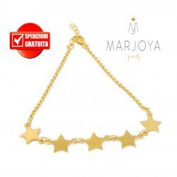 Bracciale con 5 stelle in argento 925 dorato,regolabile