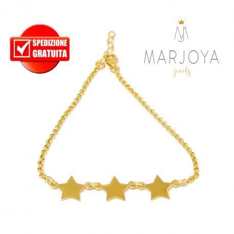 Bracciale con 3 stelle in argento 925 dorato,regolabile