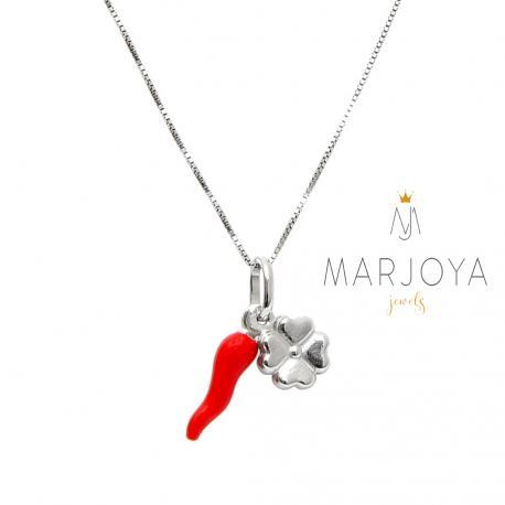 Collana con cornetto smaltato rosso e quadrifoglio in argento 925