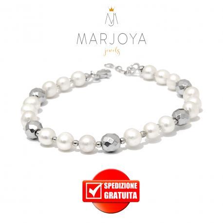 Bracciale in perle naturali,ematite ed argento rodiato