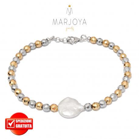 Bracciale in ematite argento e dorata,perla barocca e argento 925