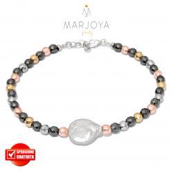 Bracciale in ematite multicolor,perla barocca e argento 925