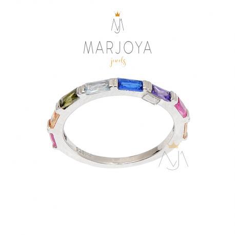 Anello in argento 925 rodiato con zirconi multicolor