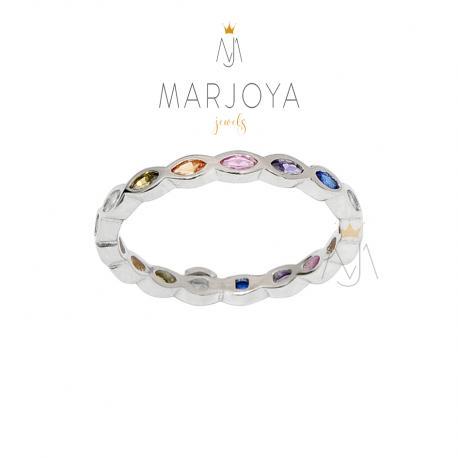 Anello fedina ovale in argento 925 con zirconi multicolor
