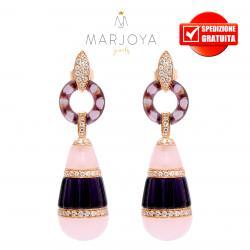 Orecchini pendenti in argento 925 rosè con pendoli in quarzo viola e rosa e zirconi