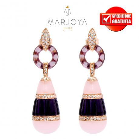 Orecchini pendenti in argento 925 rosè con pendoli in quarzo viola,rosa,verde,onice,agata bianca e zirconi