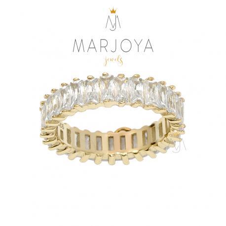 Anello veretta in argento 925 dorato con zirconi bianchi