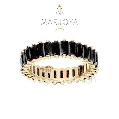 Anello veretta in argento 925 dorato con zirconi neri