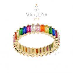 Anello veretta in argento 925 dorato con zirconi rainbow