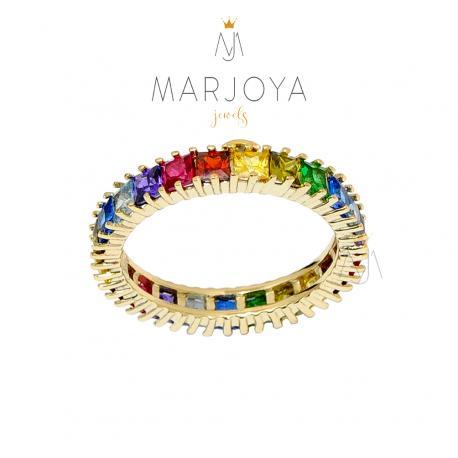 Anello veretta in argento 925 dorato con zirconi multicolor
