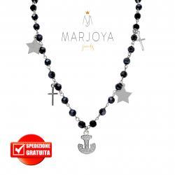 Collana con croci, stelle,ancora,swarovski neri e zirconi in argento 925