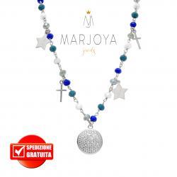 Collana con croci, stelle, disco pavè,swarovski e zirconi in argento 925