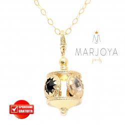 Collana lunga con charms e quarzo nero e bianco in argento dorato,70 cm