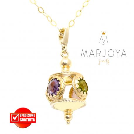 Collana lunga con charms e quarzi multicolor in argento dorato,70 cm