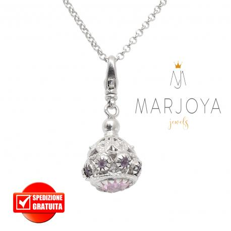 Collana lunga con charms e quarzo rosa e viola in argento 925,72 cm