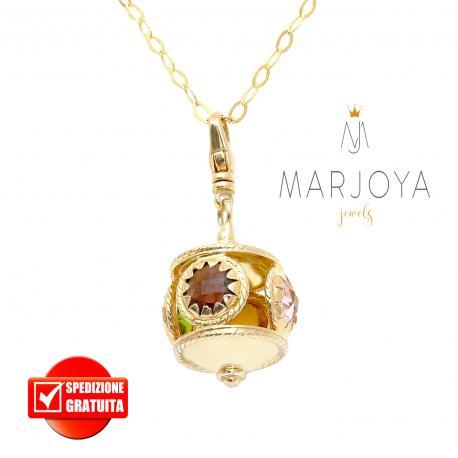 Collana lunga con charms e quarzi multicolor in argento dorato,80 cm