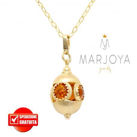Collana lunga con charms e quarzo arancio in argento dorato,80 cm