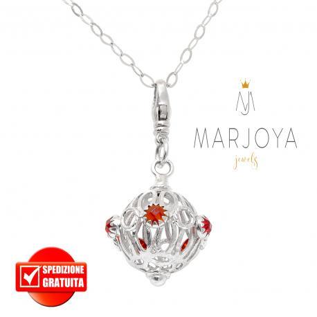 Collana lunga con charms e quarzo rosso in argento 925,80 cm