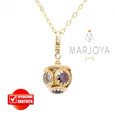 Collana lunga con charms e quarzi multicolor in argento dorato,90 cm