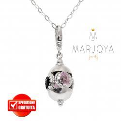 Collana lunga con charms e quarzo nero e rosa in argento 925,90 cm