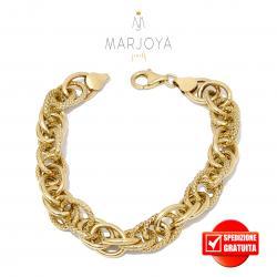 Bracciale maglia ovale 3+3 in argento 925 dorato