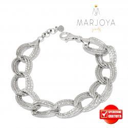 Bracciale semirigido con zirconi bianchi in argento 925 rodiato