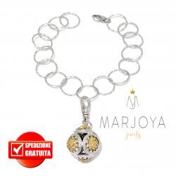 Bracciale charms con maglia martellata e zirconi champagne in argento 925