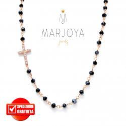 Collana stile rosario con swarovski nero boreale e croce con zirconi in argento rosè