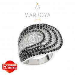 Anello in argento 925 rodiato con pavè di zirconi bianchi e neri