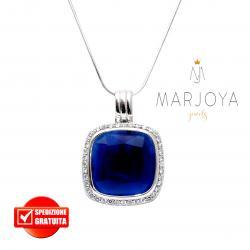 Collana con pendente quadrato e zirconi bianchi e blu in argento 925