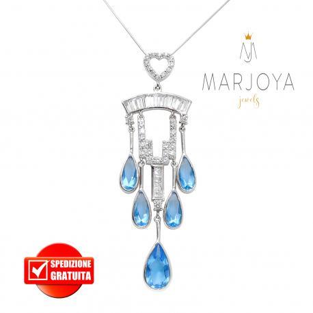 Collana con pendente princess e zirconi bianchi e azzurri in argento 925