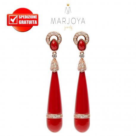Orecchini pendoli lunghi con pasta di corallo e argento 925 rosè