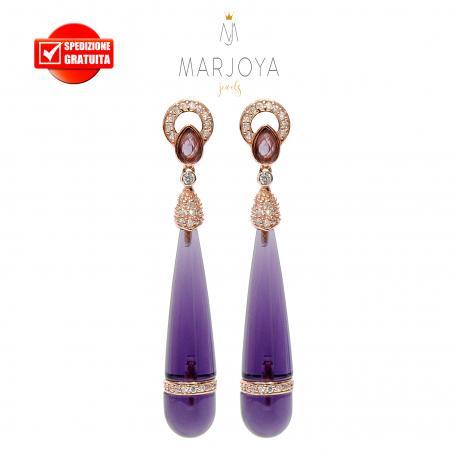 Orecchini pendoli lunghi con quarzo viola e argento 925 rosè