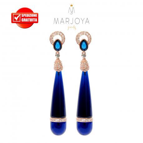 Orecchini pendoli lunghi con quarzo blu e argento 925 rosè